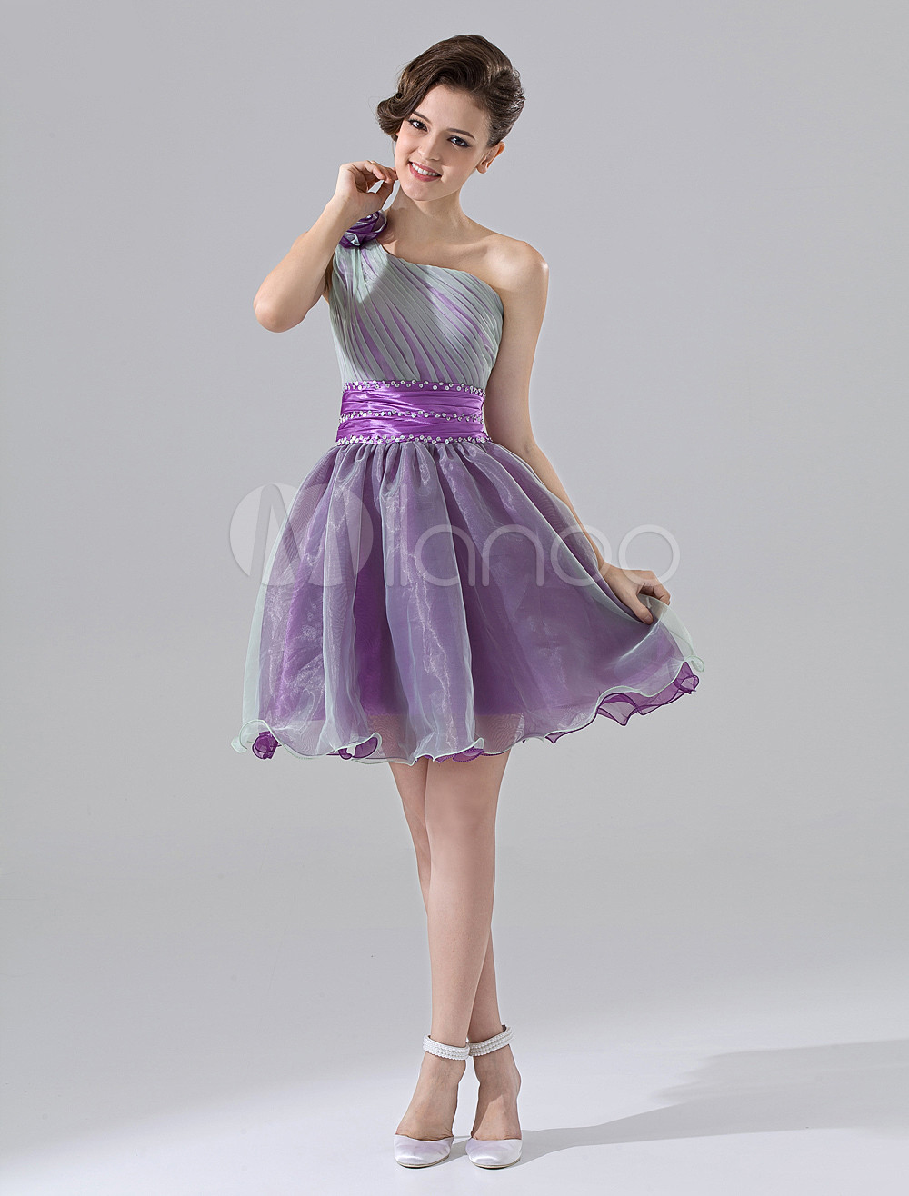 Grape Purple One-Shoulder A-line Flower Organza Satin Homecoming Dress