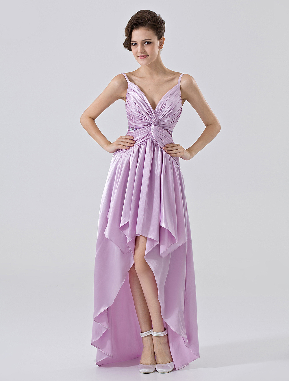 Lilac a line spaghetti asymmetrical hemline chiffon for Wedding dresses asymmetrical hemline