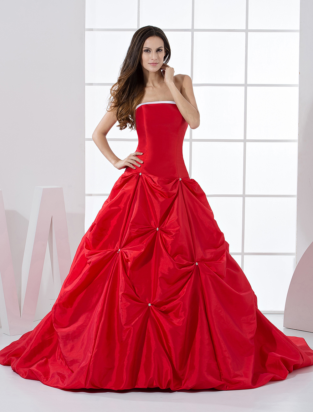 Red Formal Ball Gown Strapless Beading Taffeta Ball Gown