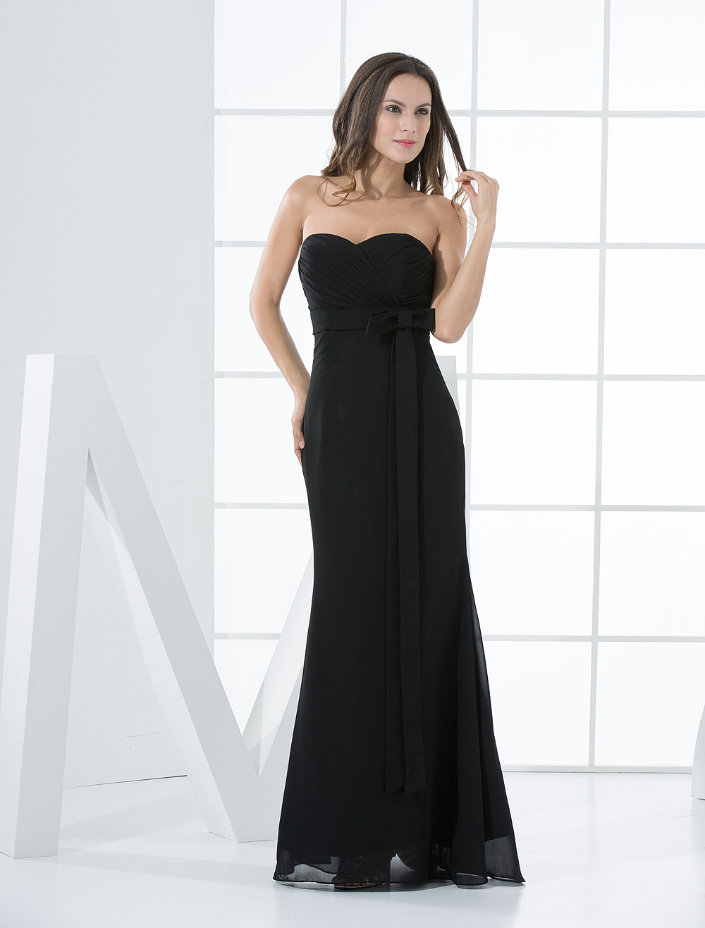 Black Bridesmaid Dress Strapless Sash Mermaid Bows Chiffon Dress
