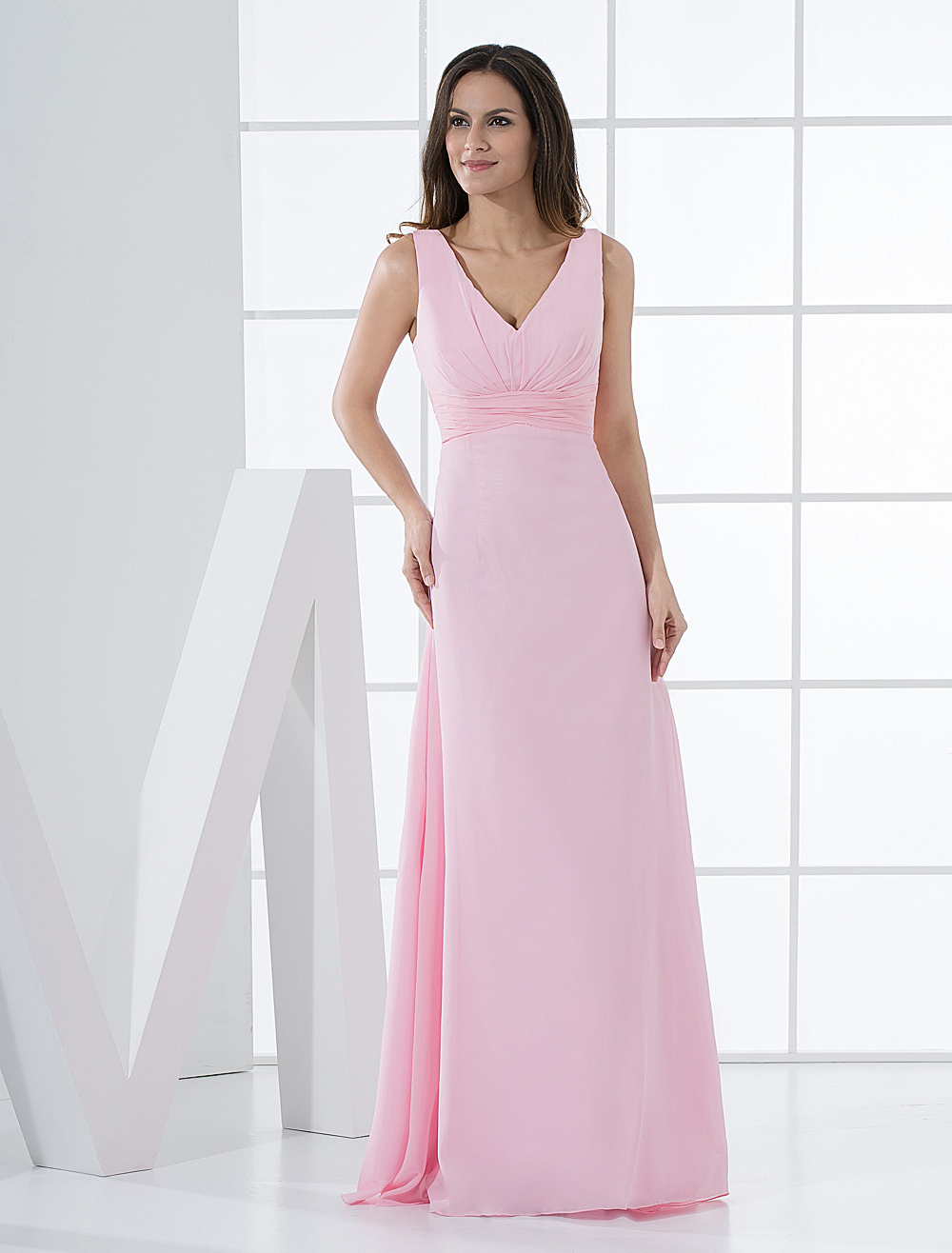 Pink Bridesmaid Dress Deep-V Ruched Chiffon Dress