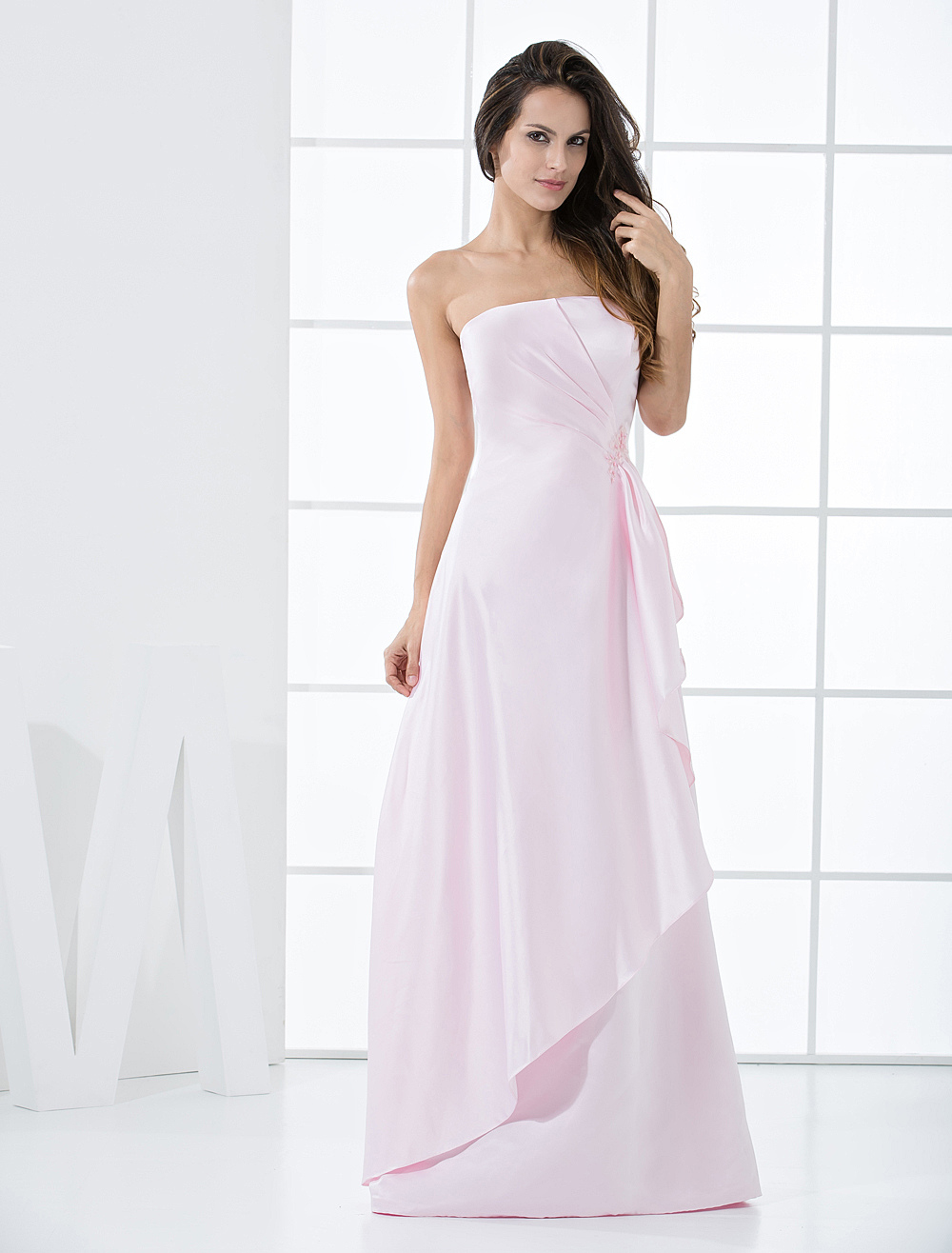 Pink Strapless Satin Floor Length Bridesmaid Dress