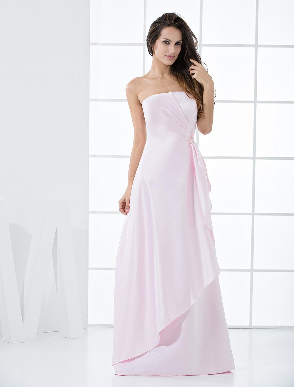 Pink Strapless Satin Floor Length Bridesmaid Dress