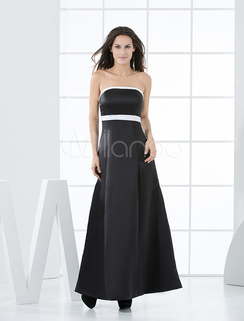 A-line Strapless Empire Waist Sash Satin Bridesmaid Dress