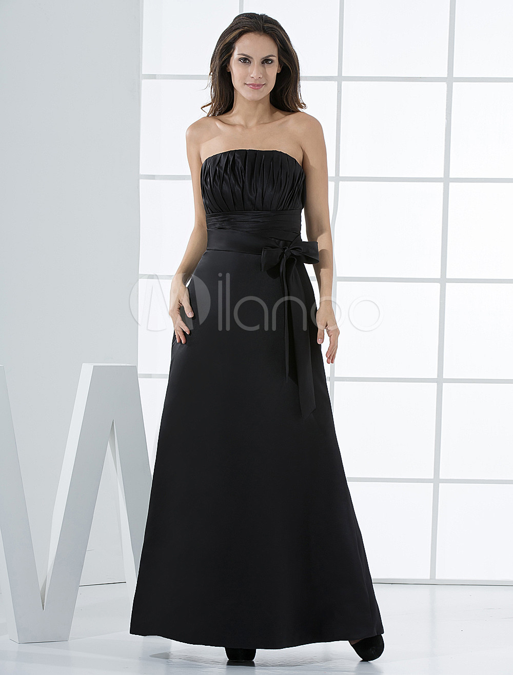 Strapless Sash Empire Waist Satin Bridesmaid Dress