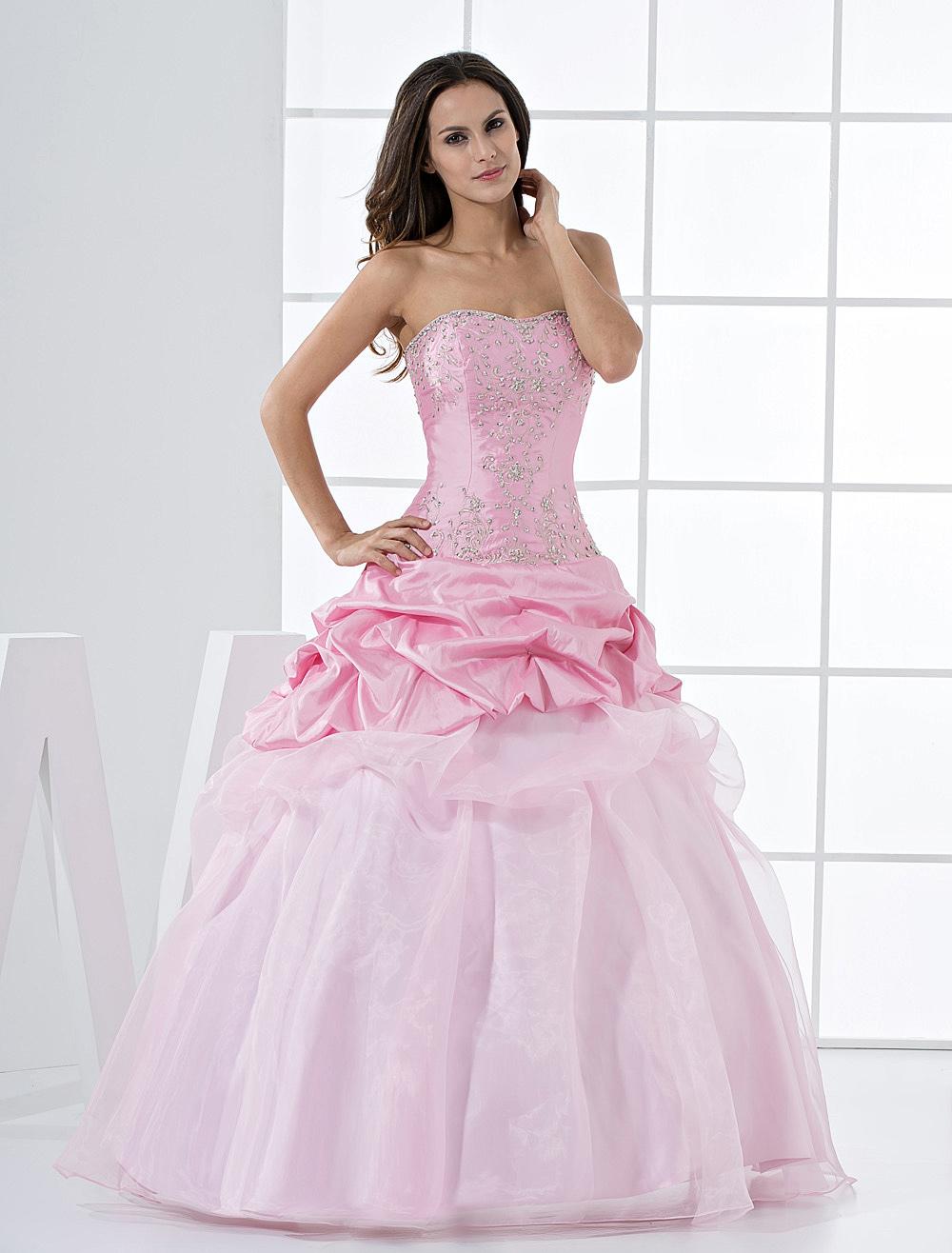 Pink Princess Strapless Beaded Ruffles Floor Length Taffeta Ball Gown