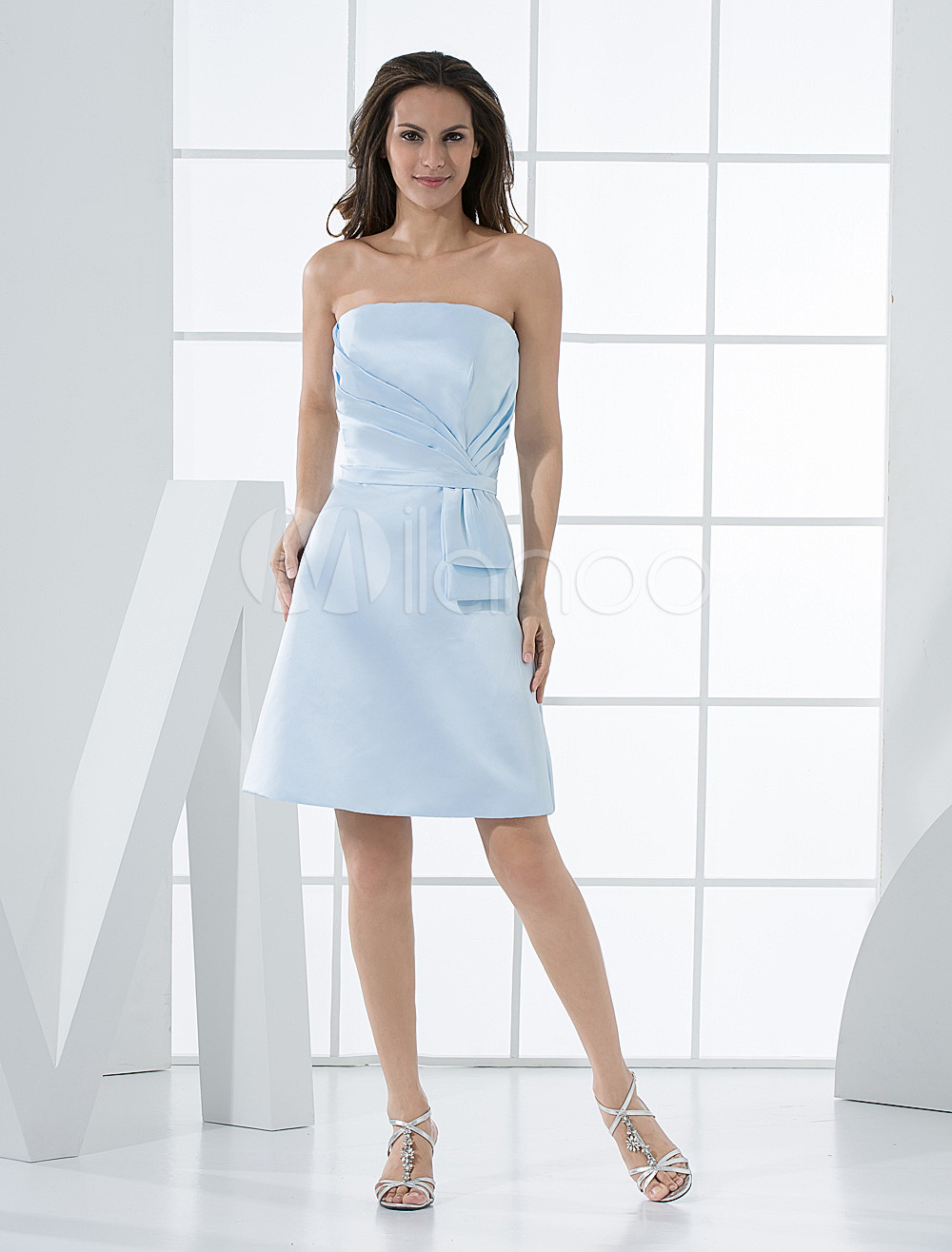 Wonderful Light Sky Blue Strapless A-line Shank Length Satin Bridesmaids Dress