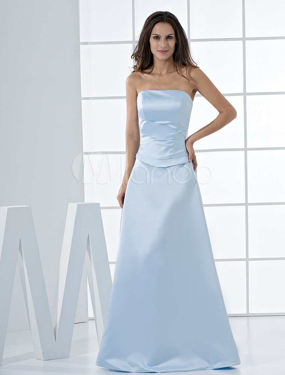 Fresh Light Sky Blue Satin Strapless Bridesmaid Dress