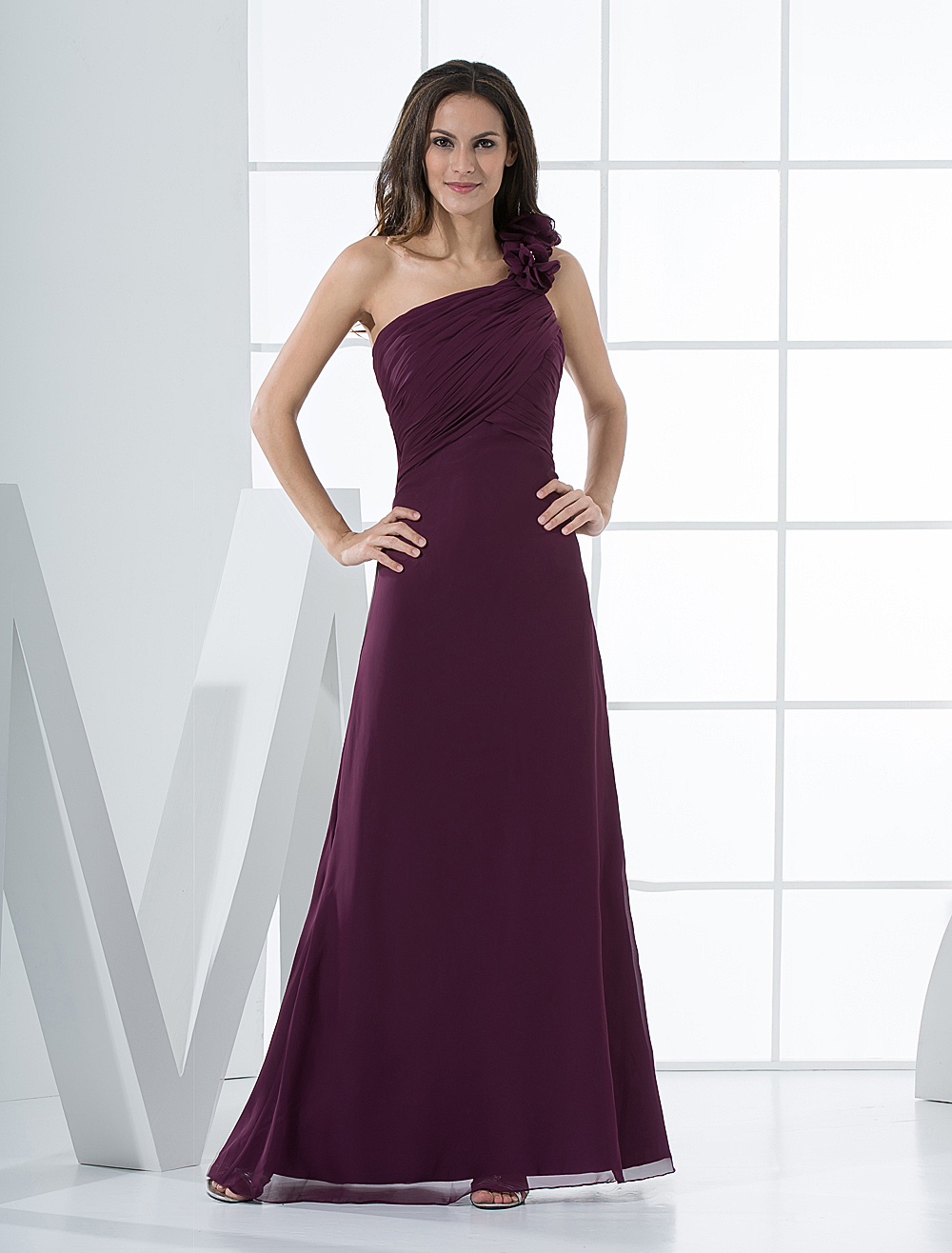 Sexy Grape Chiffon One Shoulder Floor Length Bridesmaid Dress