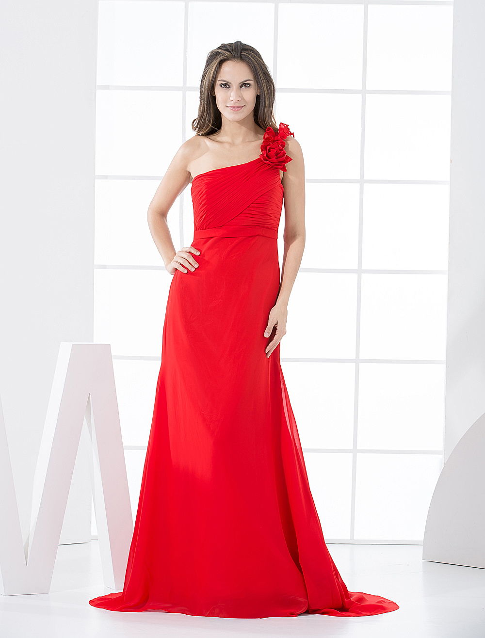 A-line Red Chiffon One Shoulder Bridesmaid Dress With Flowers