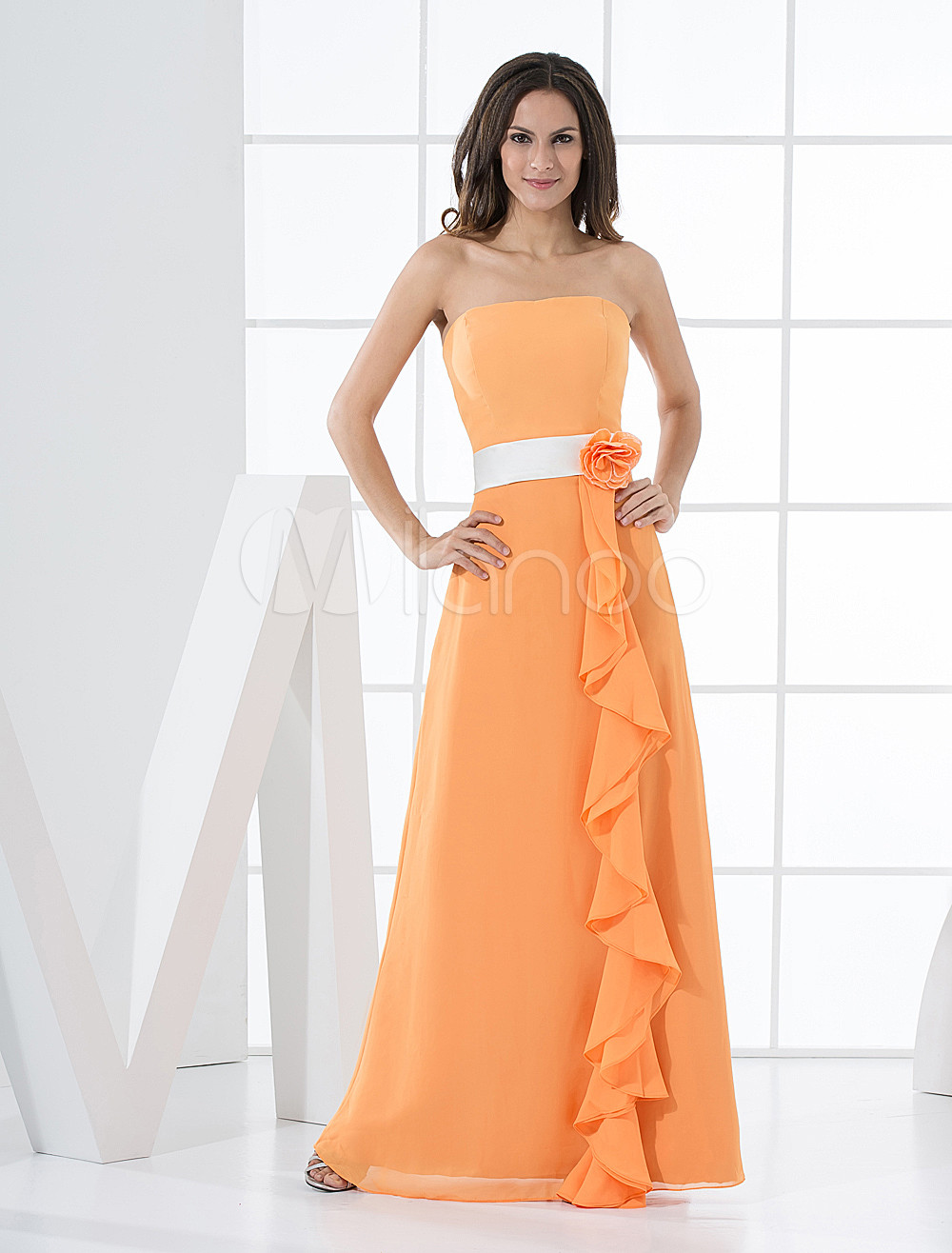 Strapless Cascading Ruffle Chiffon Orange Charming Bridesmaid Dress