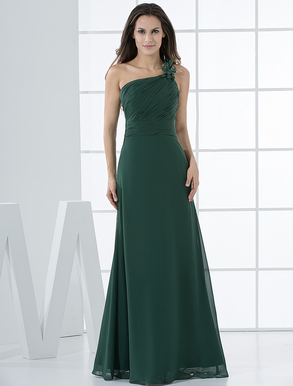 Dark Green A-line Chiffon One Shoulder Bridesmaid Dress