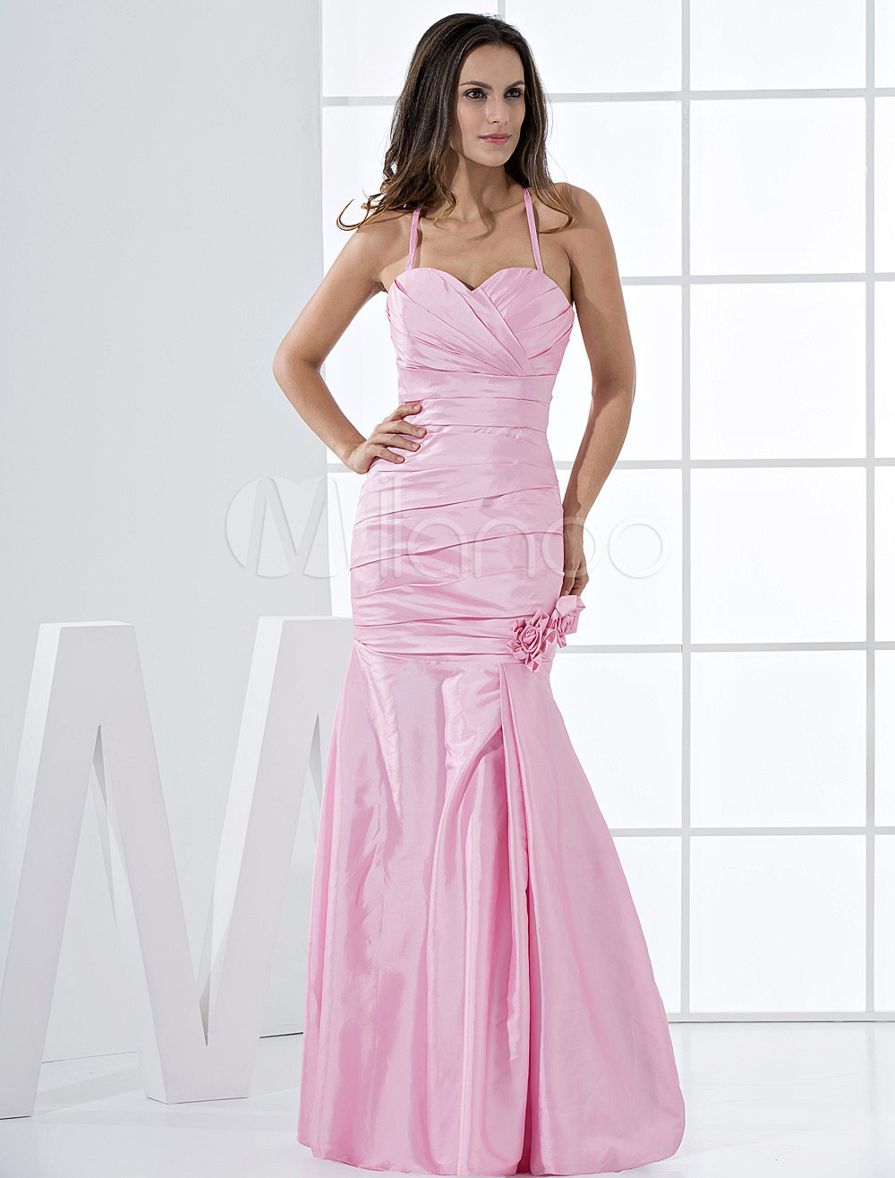 Pretty Pink Taffeta Mermaid Bridesmaid Dress