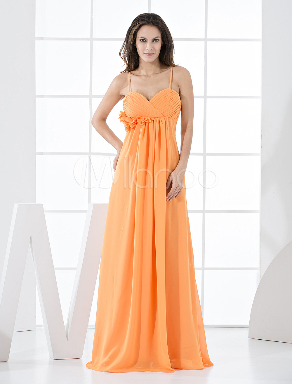 Orange Chiffon A-line Floor Length Bridesmaid Dress