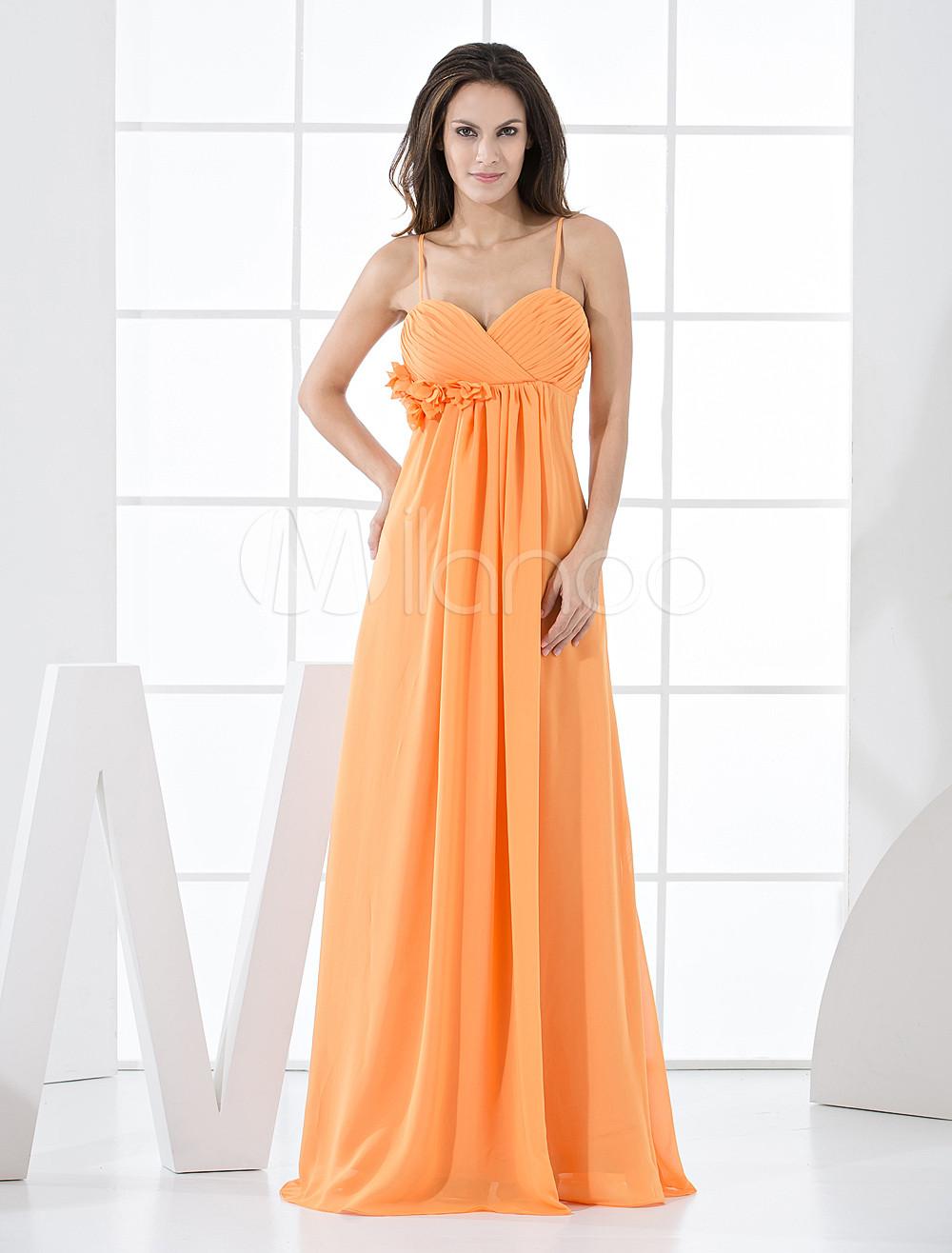 Orange Chiffon A-line Floor Length Bridesmaid Dress