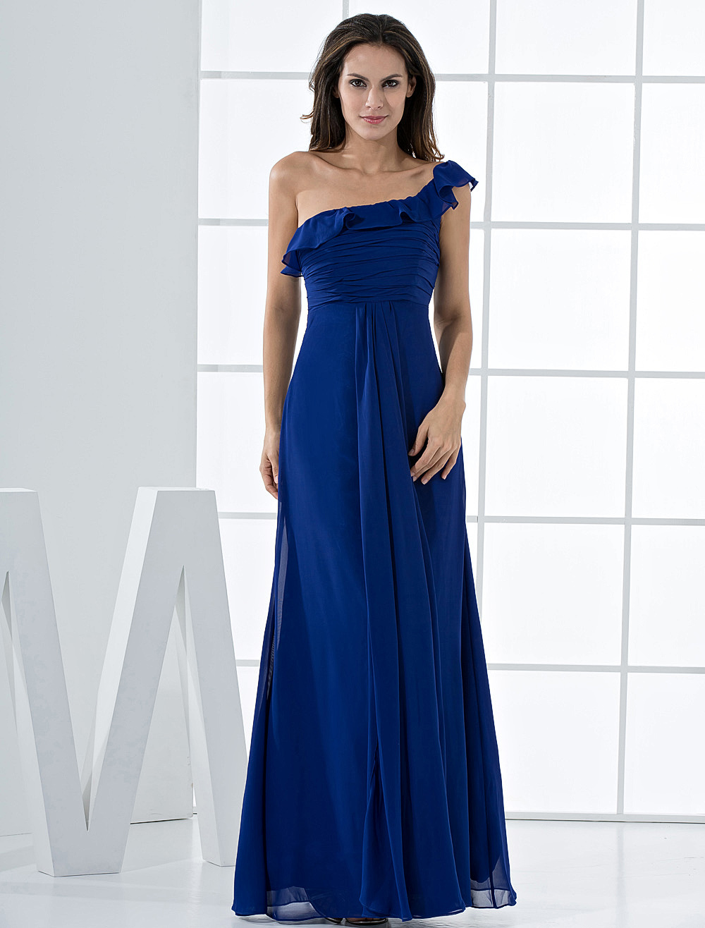 Grace Royal Blue Chiffon One Shoulder Bridesmaid Dress