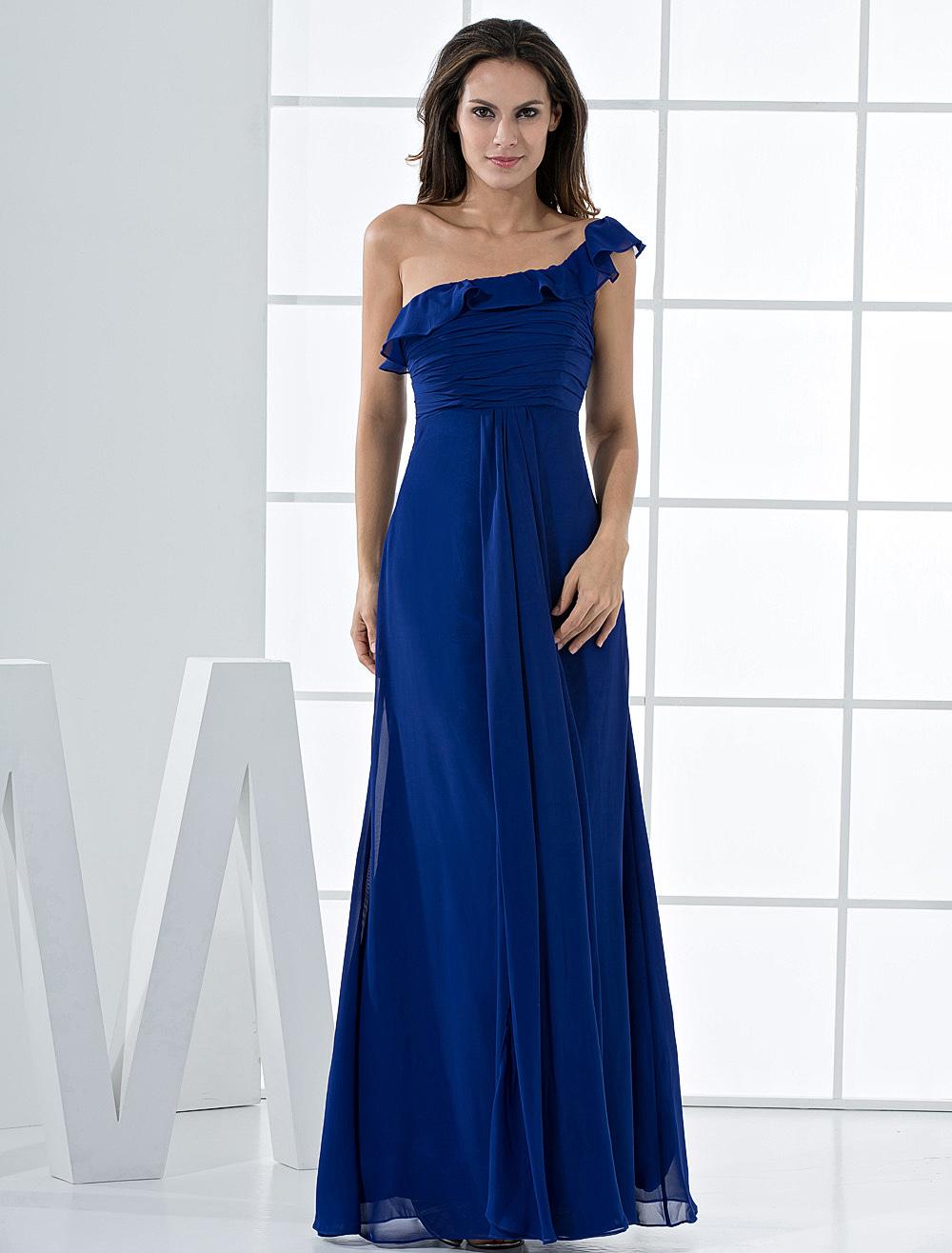 Grace Royal Blue Chiffon One Shoulder Bridesmaid Dress (Wedding Bridesmaid Dresses) photo
