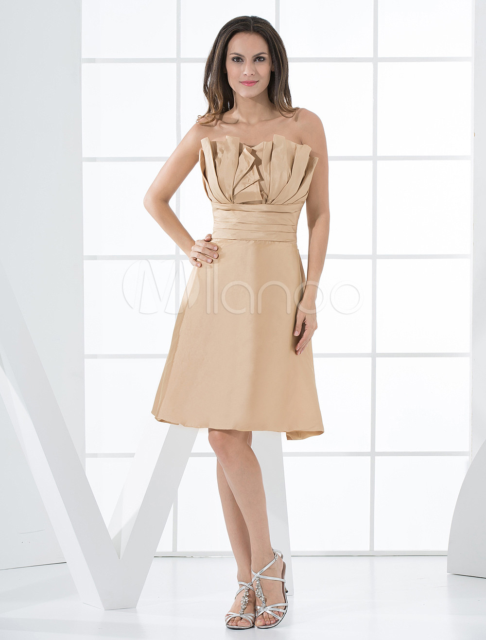Golden Taffeta Tea Length A-line Strapless Bridesmaid Dress