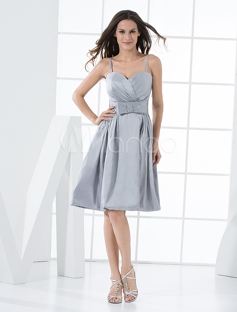 Silvery Taffeta Knee Length A-line Bridesmaid Dress