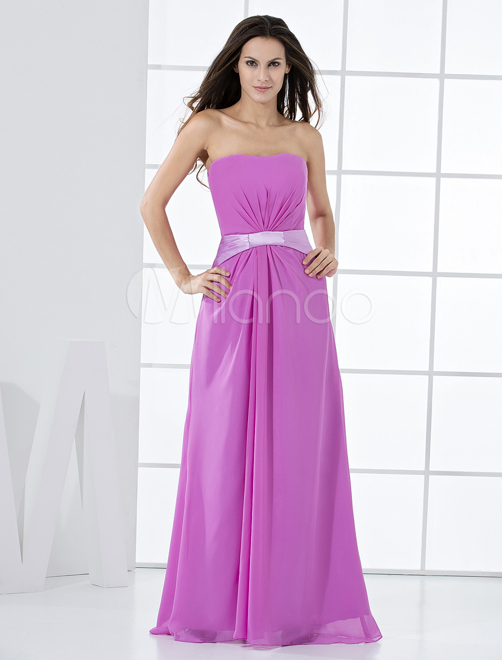 Lilac Chiffon Strapless A-line Floor Length Bridesmaid Dress
