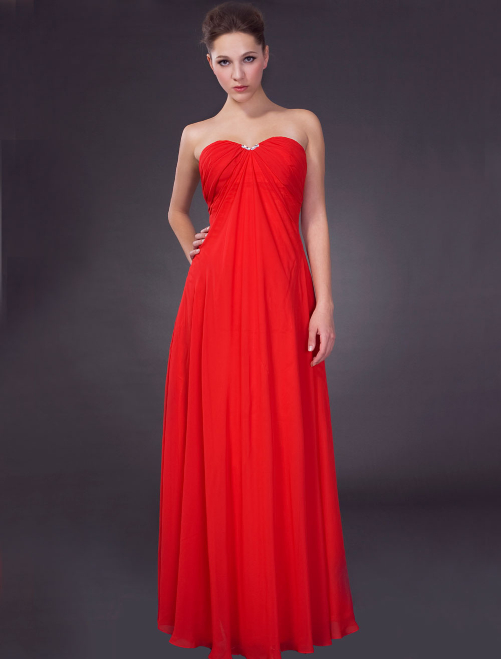 Red Empire Waist Strapless Satin Chiffon Maxi Evening Gown