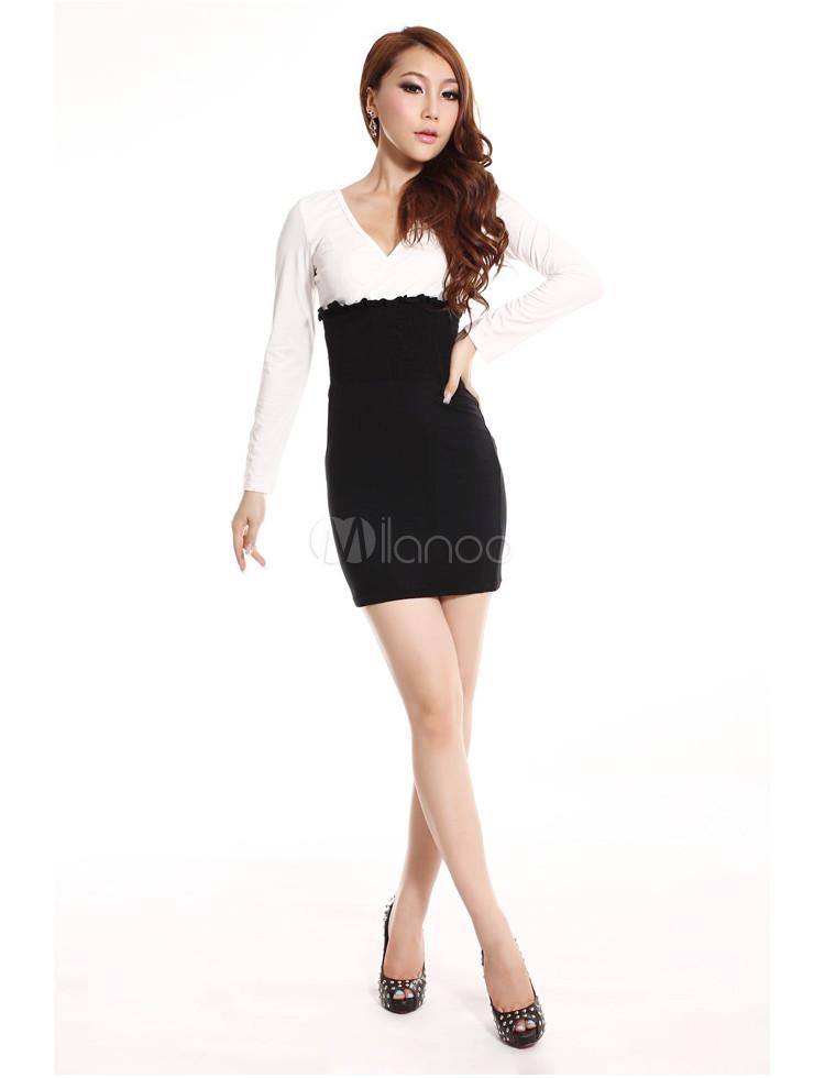 Black White Silk Wadding V-neck Long Sleeves Party Dress