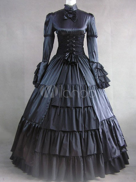 Elegant Gothic Lolita Victorian Aristocrat Black Satin Long Dress