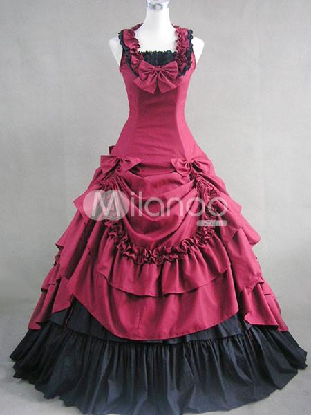 Dark-Red-Bow-Ruffles-Cotton-Classic-Lolita-Dress-34039-6