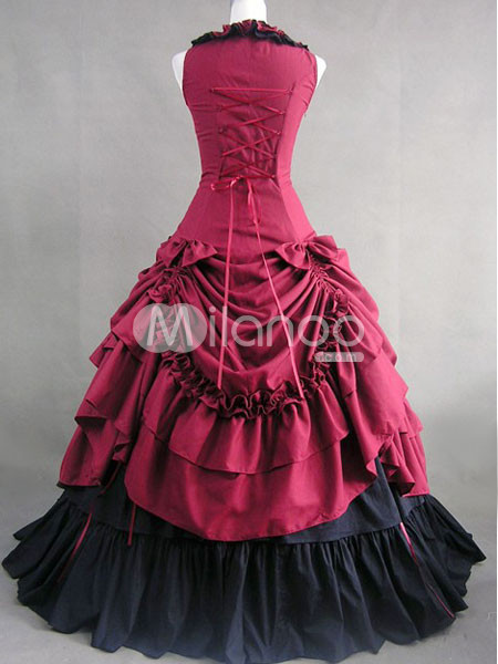 Dark-Red-Bow-Ruffles-Cotton-Classic-Lolita-Dress-34039-9