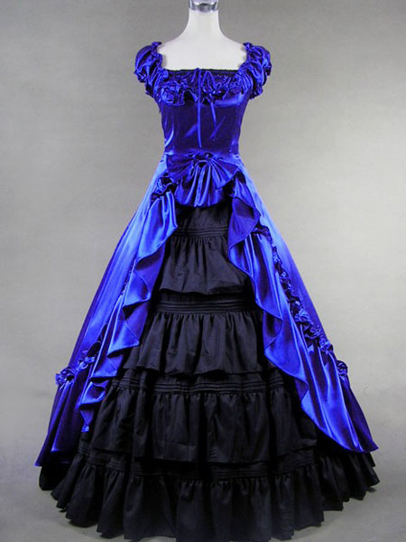 Classic Lolita Victorian Princess Blue Satin Long Dress