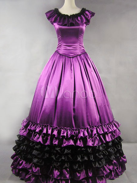 Classic Lolita Aristocrat Rococo Purple Satin Ruffles Long Gown Dress