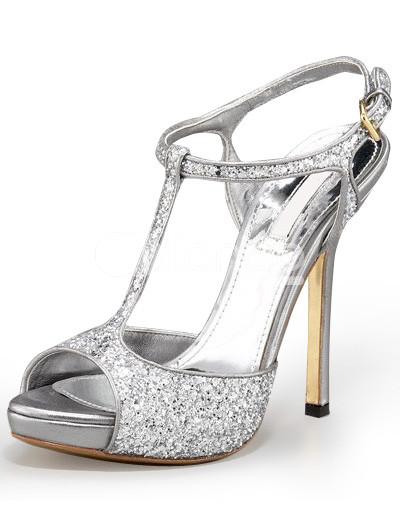 Silver Sandals High Heels