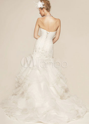 Celebrity Wedding Guest Outfits on White Satin Mermaid Strapless Celebrity Wedding Dresses   Milanoo Com