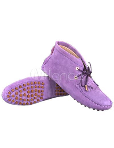 Cute Flat Shoes on Scarpe Da Barca Piatta Alta Carino Suede Pelle Di Pecora Delle Donne