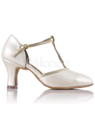 elfenbein kuh leder ankle strap damen latein heels. Black Bedroom Furniture Sets. Home Design Ideas