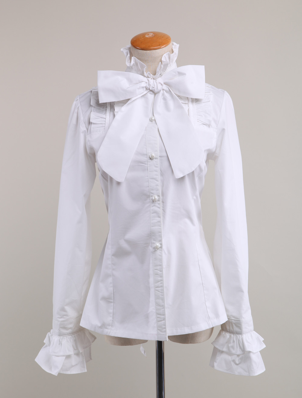 Cotton White Long Sleeves Bow Cotton Lolita Blouse