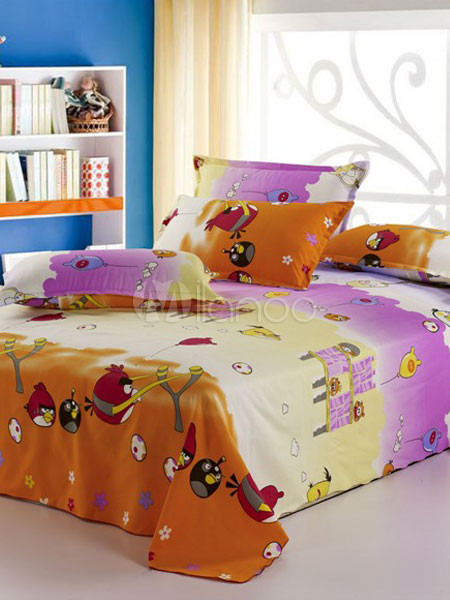 lustige 4 teilig voller licht gelb b se vogel muster polyester druck bettw sche set. Black Bedroom Furniture Sets. Home Design Ideas