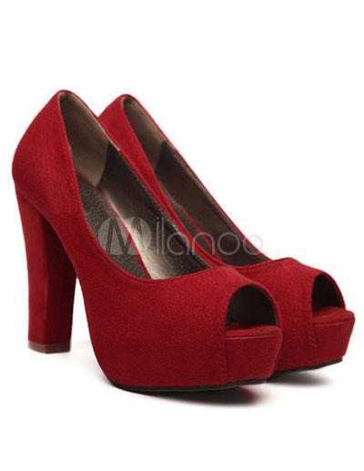 Platform Peep Toe Chunky Heel Womens Nubuck Shoes - Milanoo.com