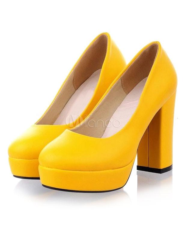 Sexy Round Toe Chunky Heel PU Womens Pumps - Milanoo.com