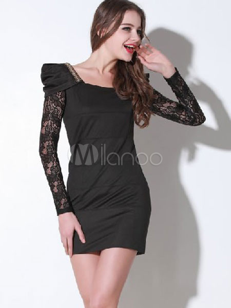 Polyester Square Collar Lace Long Sleeve Women's Party Dress