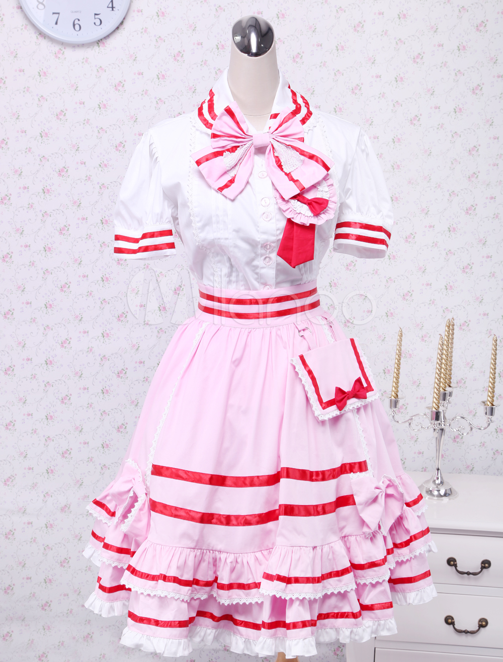 Cute White And Pink Short Sleeves Bow Lolita Suit