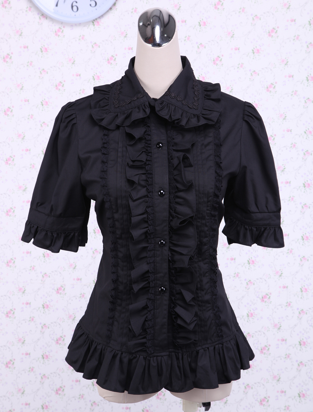 Cotton Black Ruffle Lolita Blouse $33.99 AT vintagedancer.com