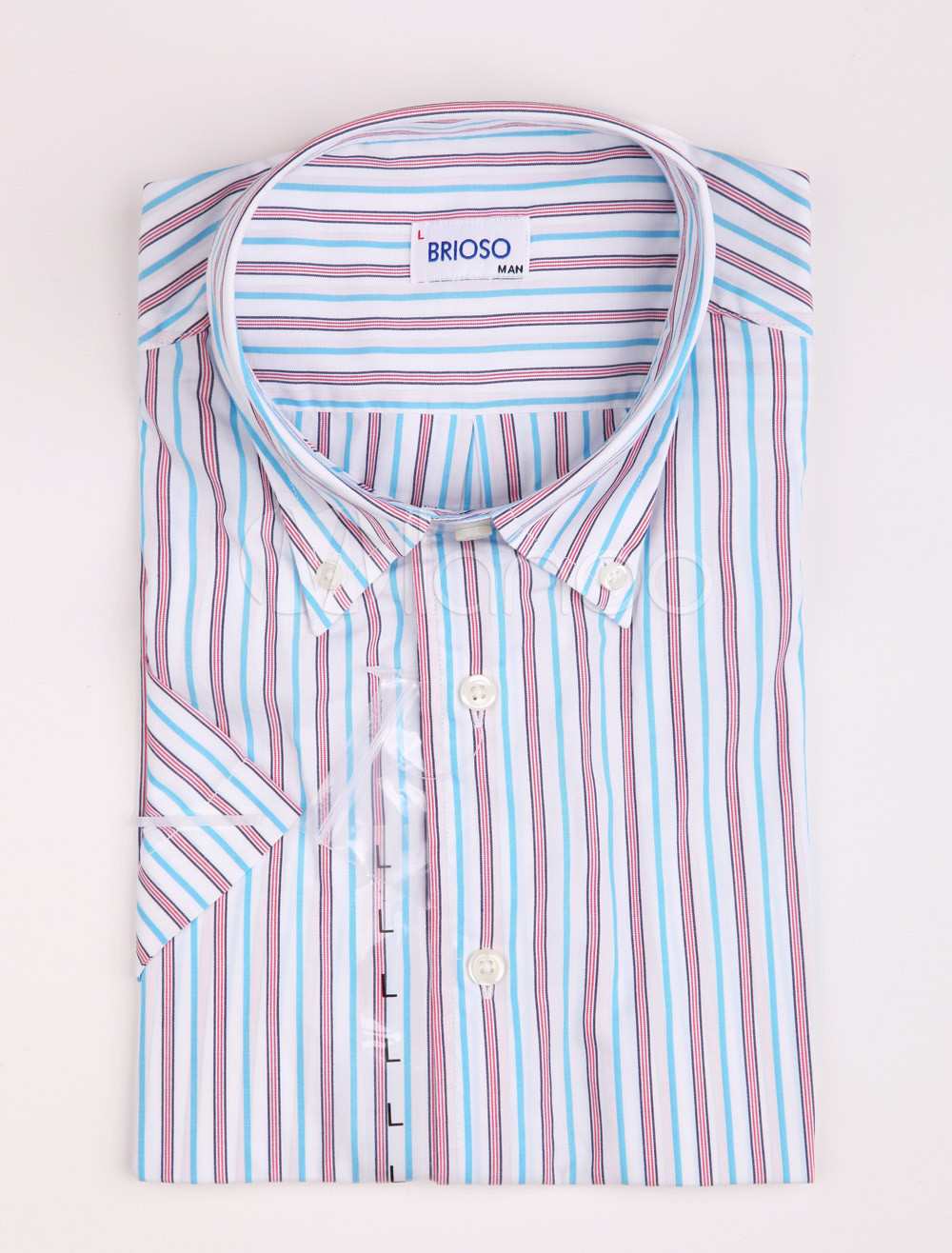 Comfortable red blue 100 cotton striped shirt for men for Red blue striped shirt