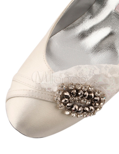 Ivory Bridal Shoes on Romantic Ivory Satin Wedding Shoes   Milanoo Com