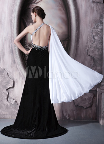 Black  Shoulder Dress on Black White Chiffon Velour One Shoulder Side Splitting Prom Dress