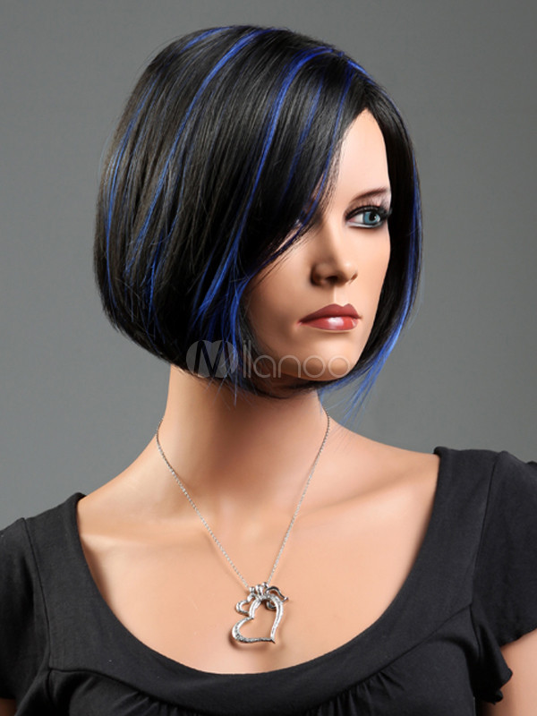 Cool Black Synthetic Straight Short Wig For Women - Milanoo.com