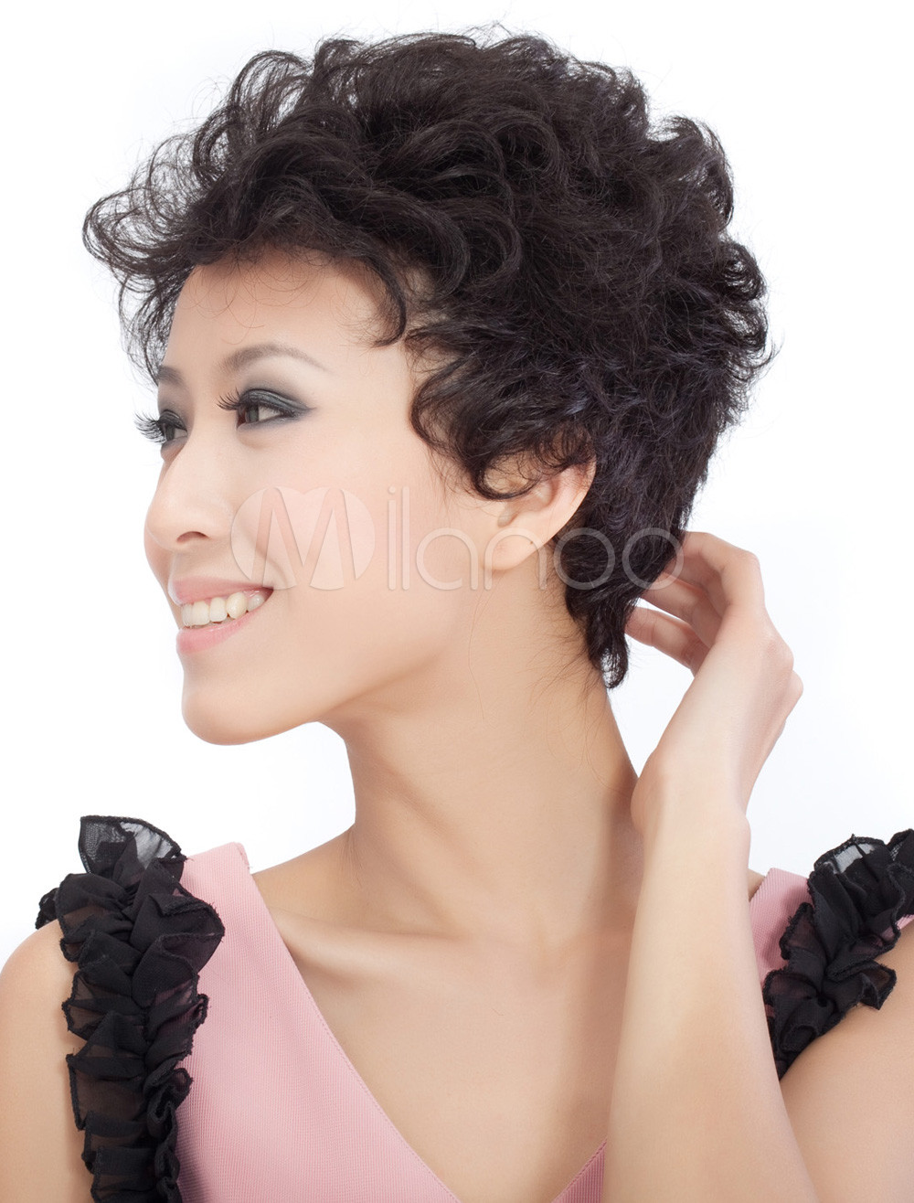 Fashion black short curly human hair wig milanoo com
