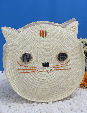Cat Shaped Straw Woven Women's Tote Bag