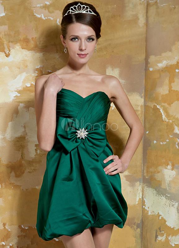 Hunter Green Strapless Sweetheart Bow Mini Length Satin Cocktail Dress