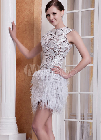 Sexy Brown Satin White Lace Ostrich Feather Sleeveless Short ...